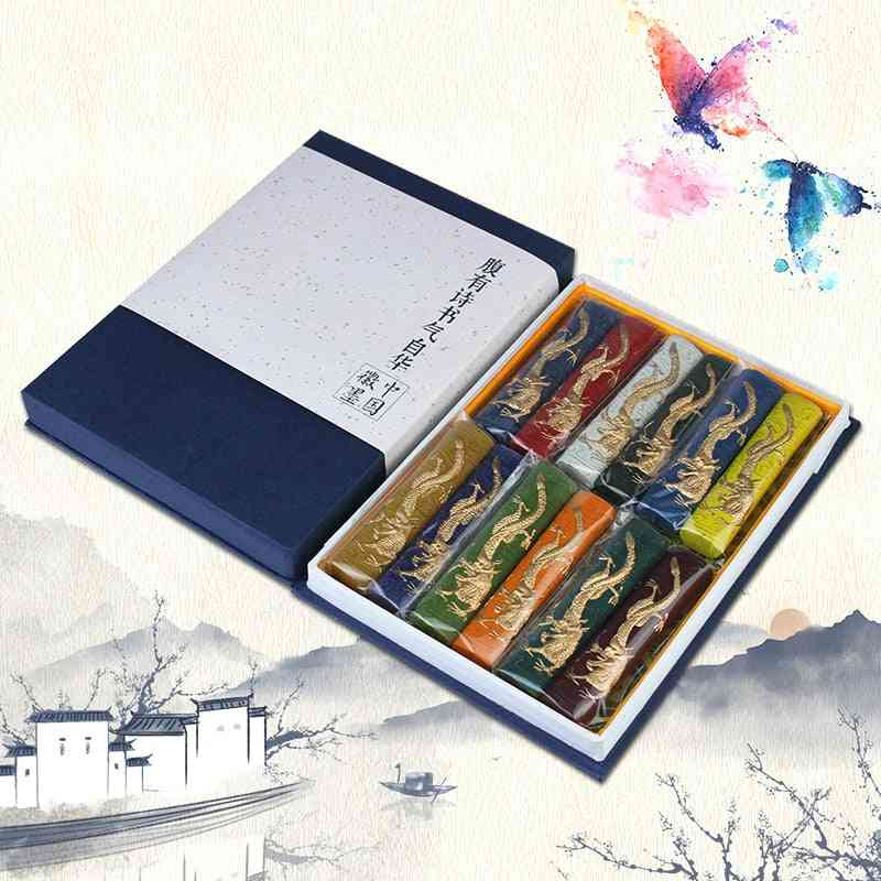 Chinese Calligraphy Ink Hui Stick Painting Colored Ink Block Set