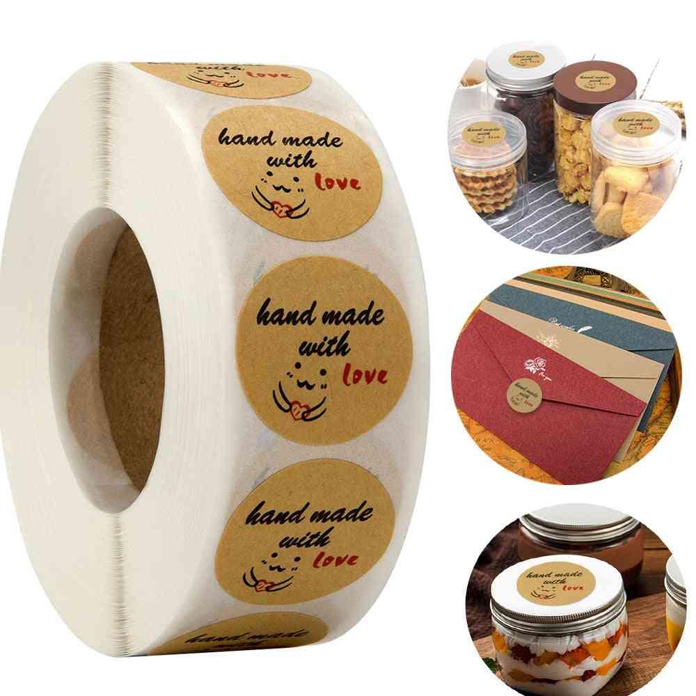 Hand Made Love Kraft Paper Round Sticker Label