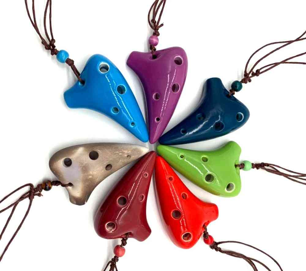 Ceramic Ocarina Alto C Submarine Style, Musical Instrument With Lanyard Score For Music Lover And Beginner