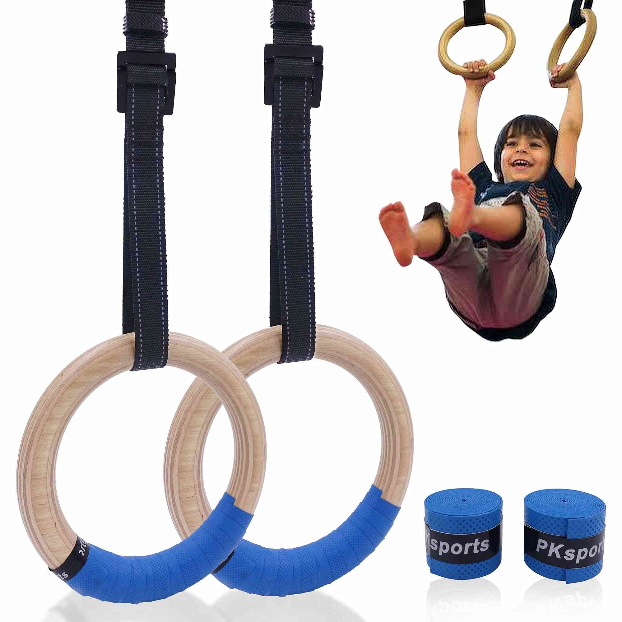 Wooden Gymnastic Rings For Kids With Adjustable Straps, Buckles