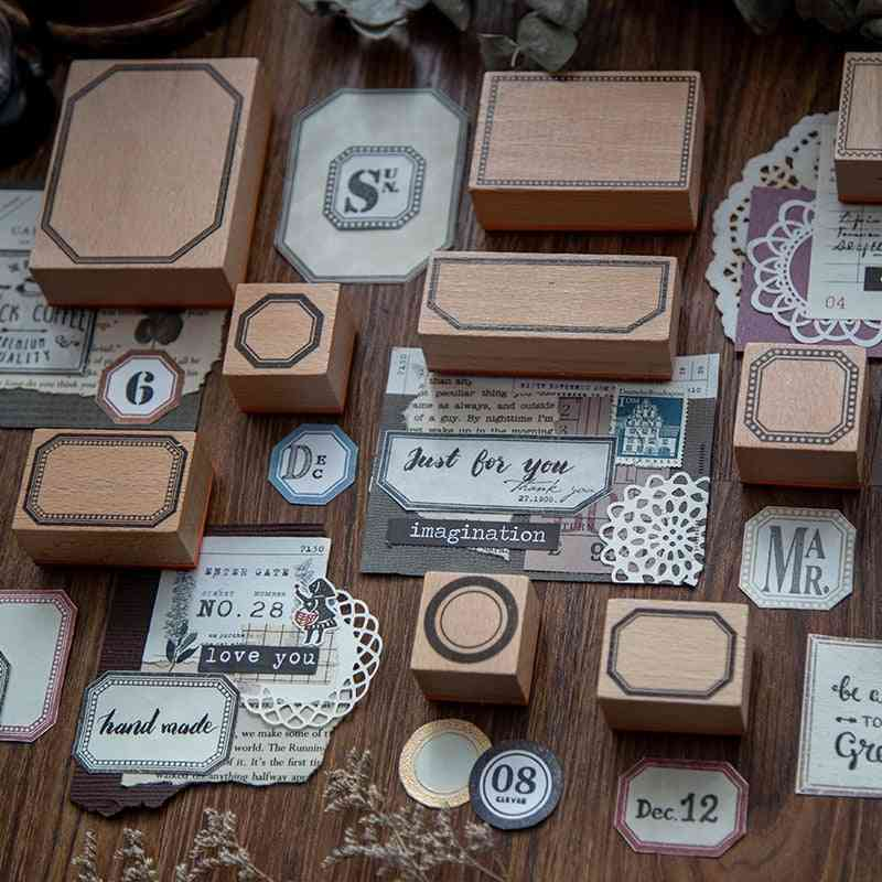 Vintage Handmade Planner Function Series Decoration - Wooden Rubber Stamps