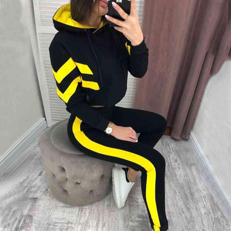 Women Hooded Tracksuit, Autumn Long Sleeve Sport Set