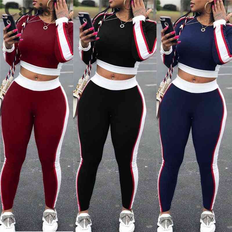 Women Sports Set Yoga Sleeve Crop Top & Pants, Outfit Fitness Athletic Tracksuit