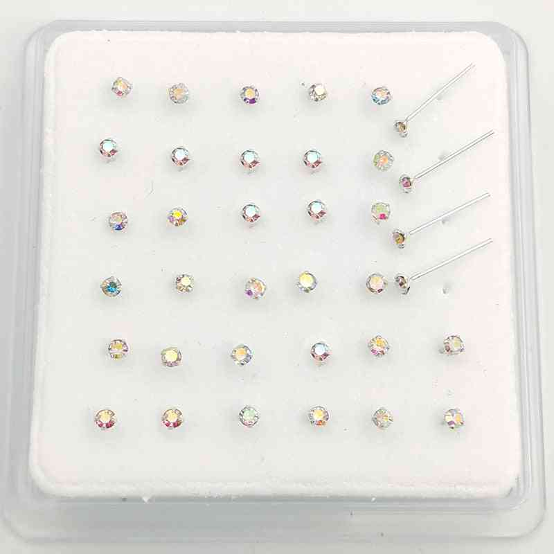 Sterling Silver Ab Crystal Nose Stud Pin, Piercing Nostril Jewelry