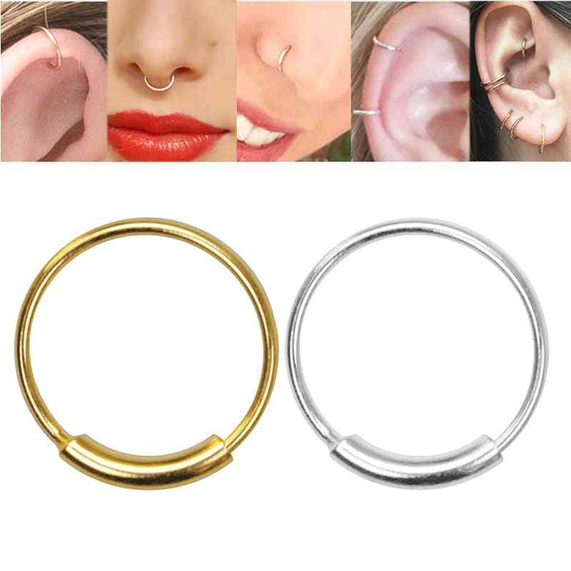 Sterling Silver Nose Ring, Piercing Hoop Body Jewelry