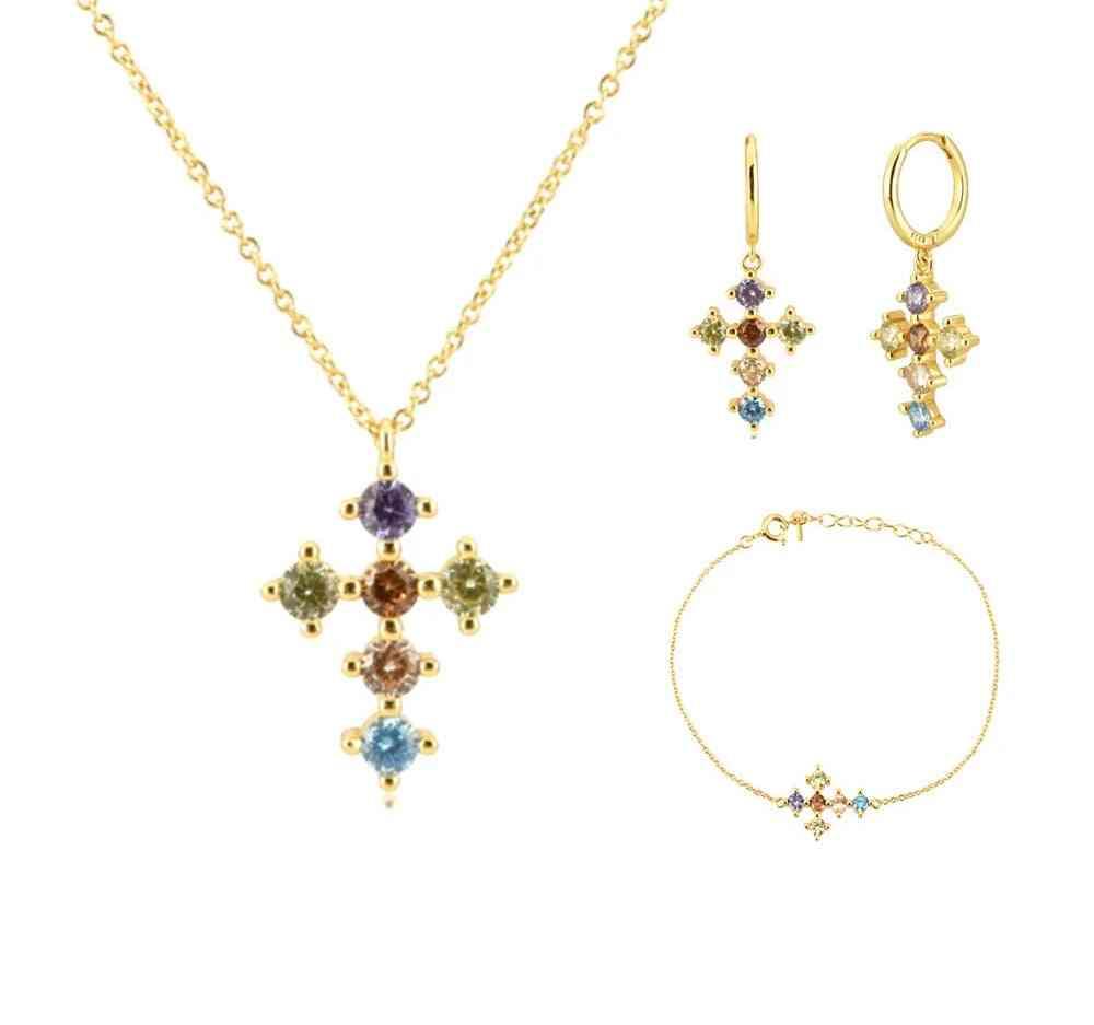 Sterling Rainbow Cross Zircon, Cz Hoops Pendiente Piercing Ohrringe Bracelet & Necklace Jewelry Set