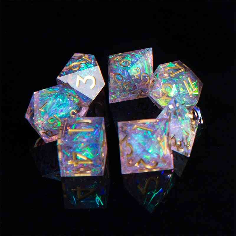 Dnd Role Playing Game-dice, Handcrafted 7-die Polyhedral Mirror Dice Set