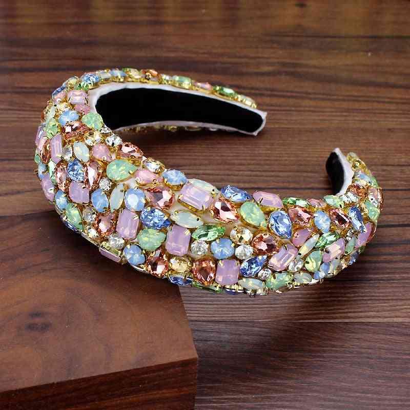 Bohemian Padded Crystal Crown Headband, Exaggerated Rhinestone Tiara Hairbands