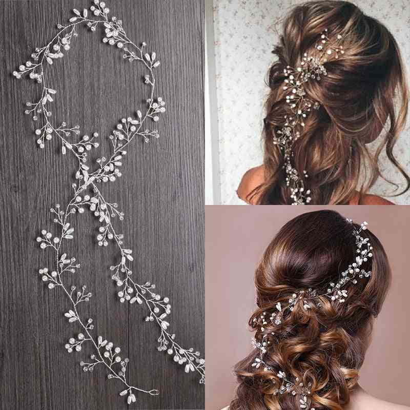 Wedding Headdress Pearl Crystal Headband, Bridal Hair Accessories, Headpiece Handmade Tiara Ornaments Jewelry