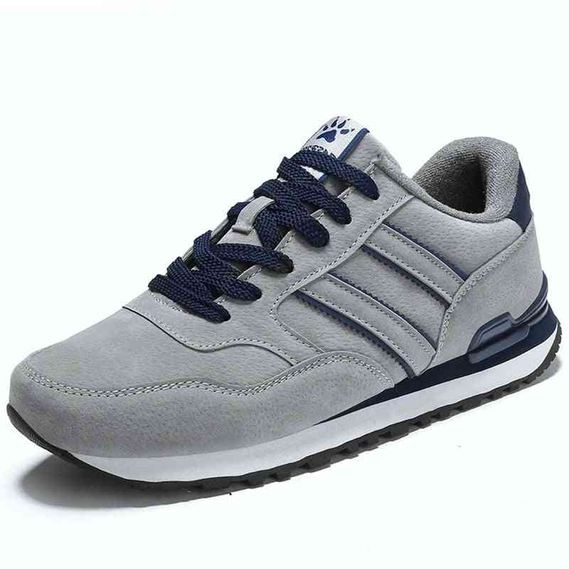 Men Classical Running Comfort Shoes, Light Suede Leather Sneakers