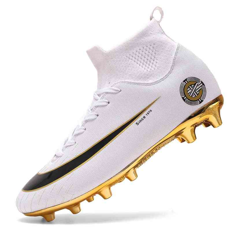Men Football Boots, High Ankle Soccer Women Soft Ground Man Trainer Gym Socks