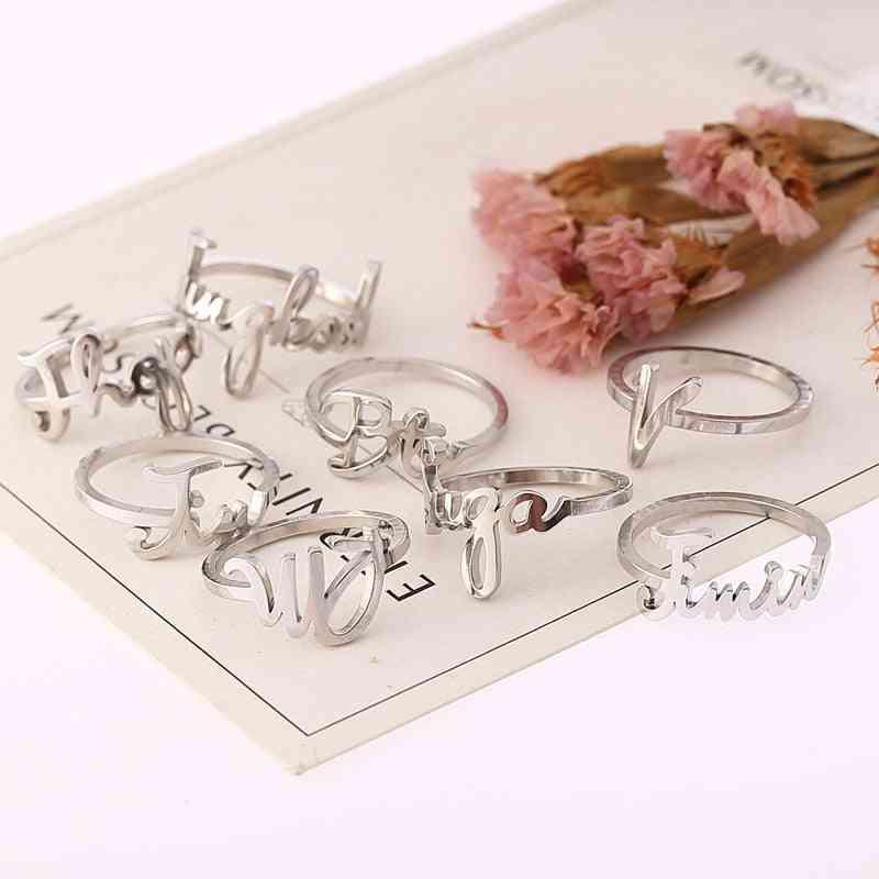 Stainless Steel Name Finger Rings Bangtan V Kpop Stationery Set