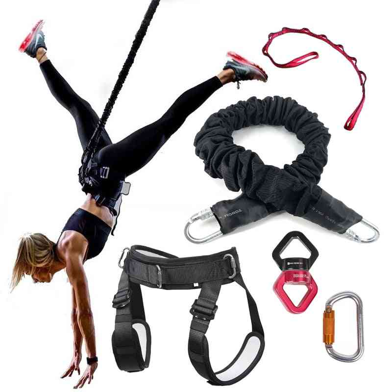 Bungee Dance Resistance Bands At Gym Yoga Fitness Workout Rope