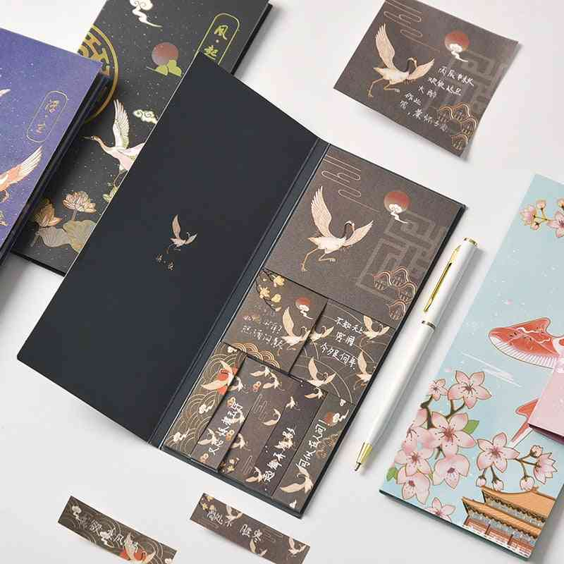 Post-it Sticky Notes Set, Kawaii Memo Pads, Retro Note Book Journal Planners
