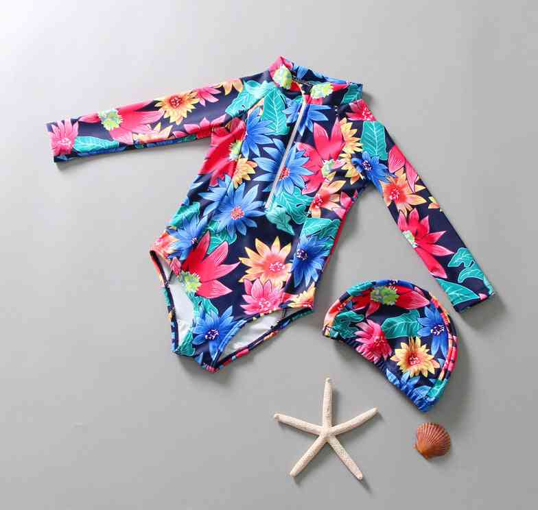 Baby One Piece Swimwear Kids Rash Guard Flowers Pattern Child Surfing Suit