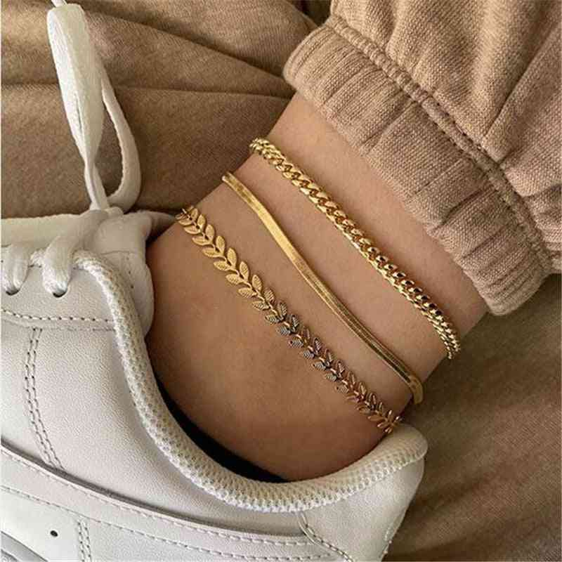 Gold Snake Chain Ankle Bracelet, Female Foot Jewelry