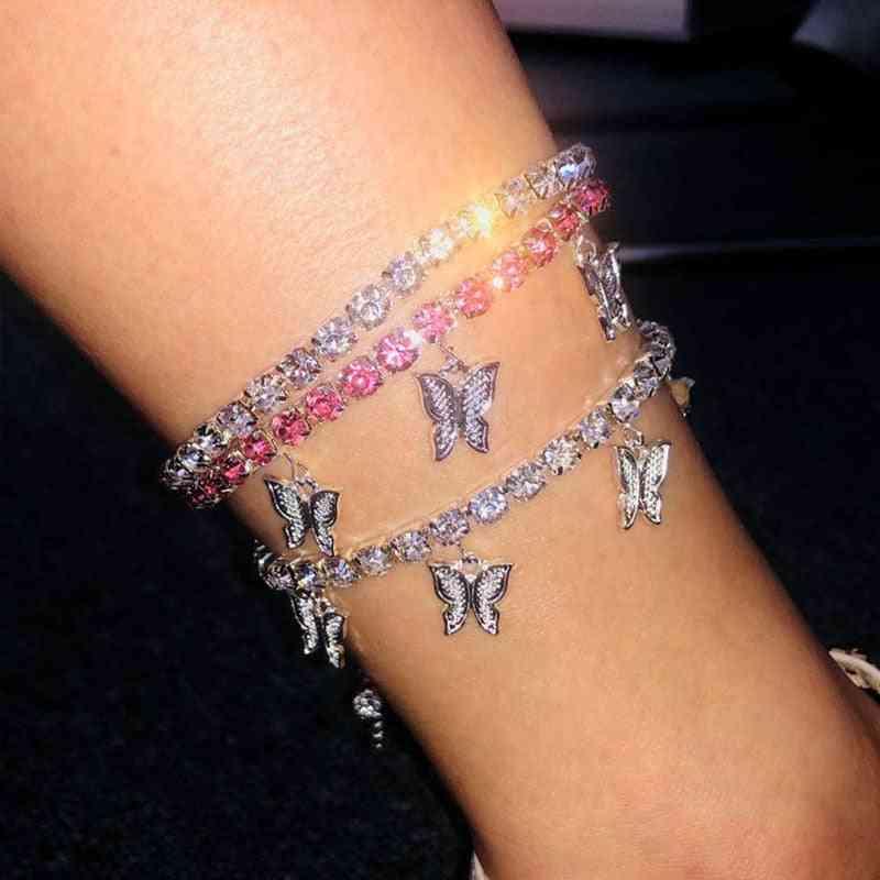 Gold Butterfly Tennis Anklet Rhinestone Jewelry, Foot Chain Bracelet
