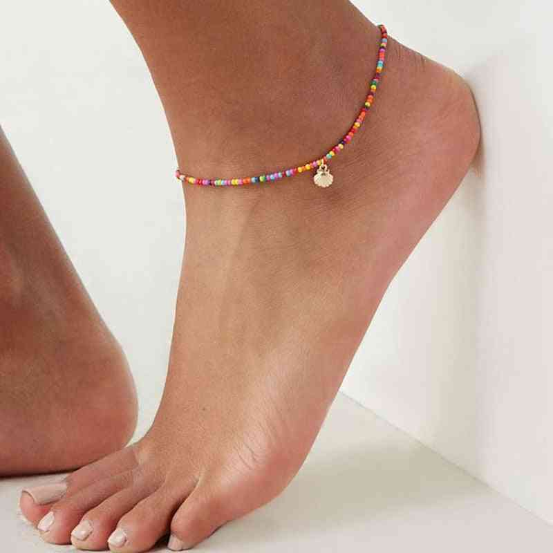 Bohemian Colorful Crystal Seed Beads - Scallop Shell Anklets