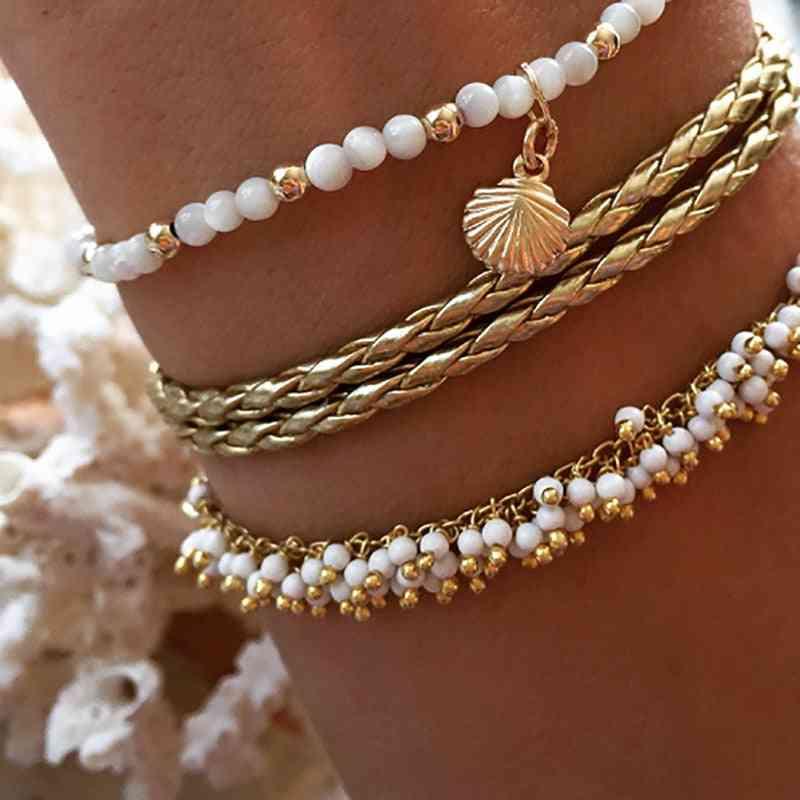 Gold Color Bohemia Anklets Set, Ankle Bracelet