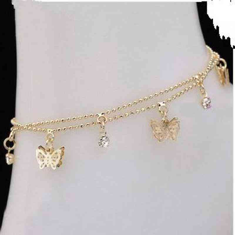 Women's Foot Chain, Summer Personality Wild Popular, Double Butterfly Lady Legs Anklet