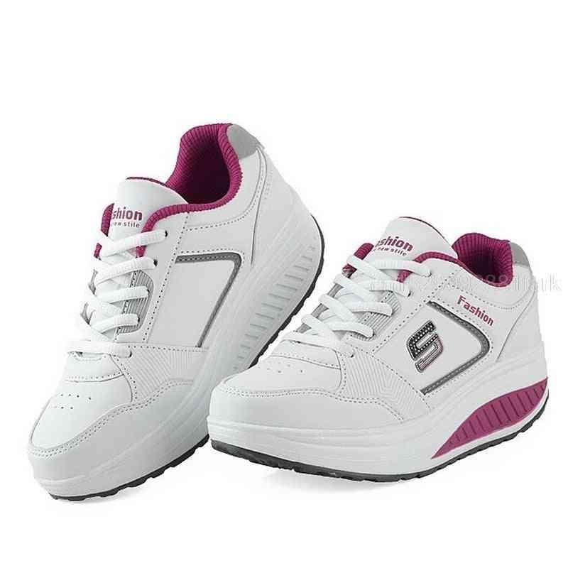 Women Platform Toning Wedge/leather Slimming Sneakers, Shoes