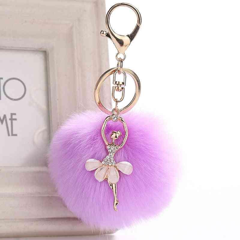Cute Rhinestone Little Angel Car Keychain