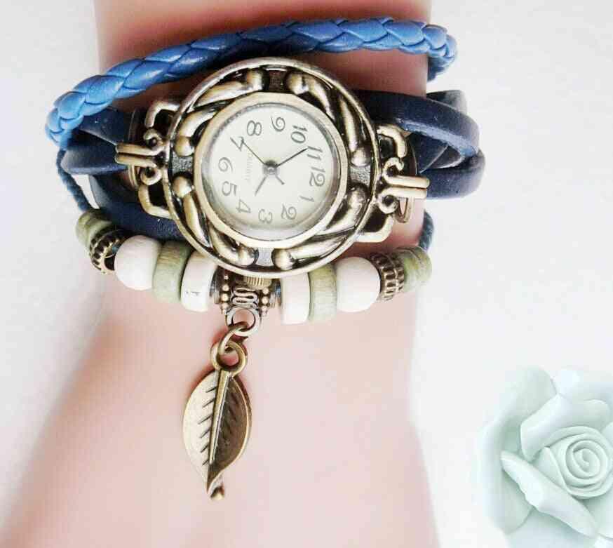 Multicolor Women Genuine Leather Vintage Quartz Dress Watch Bracelet