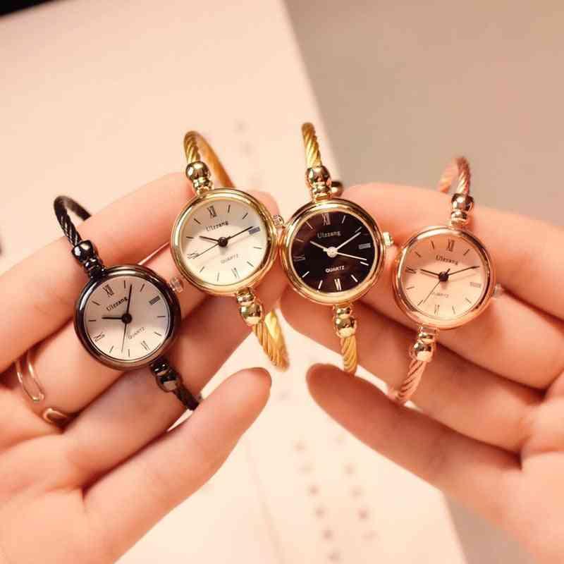 Gold Bangle Bracelet Luxury Watches, Stainless Steel Quartz Wristwatches For Fashion Women