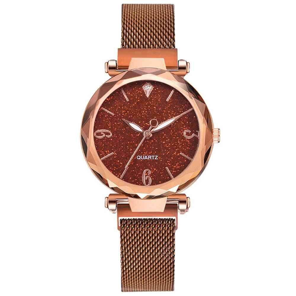 Women Watch Luxury Magnetic Starry Sky Lady Wrist Watch Mesh Female Clock
