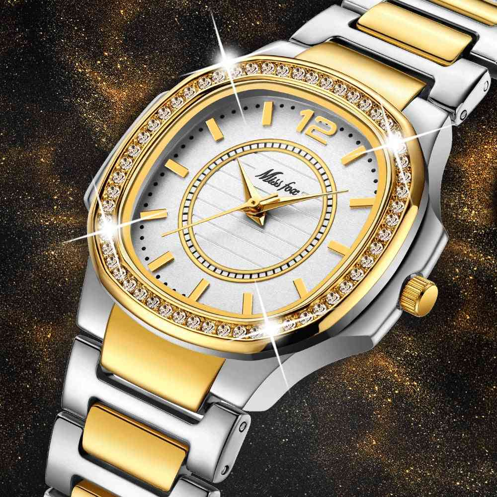 Geneva Designer, Luxury Brand, Diamond Quartz, Gold Wrist Watch
