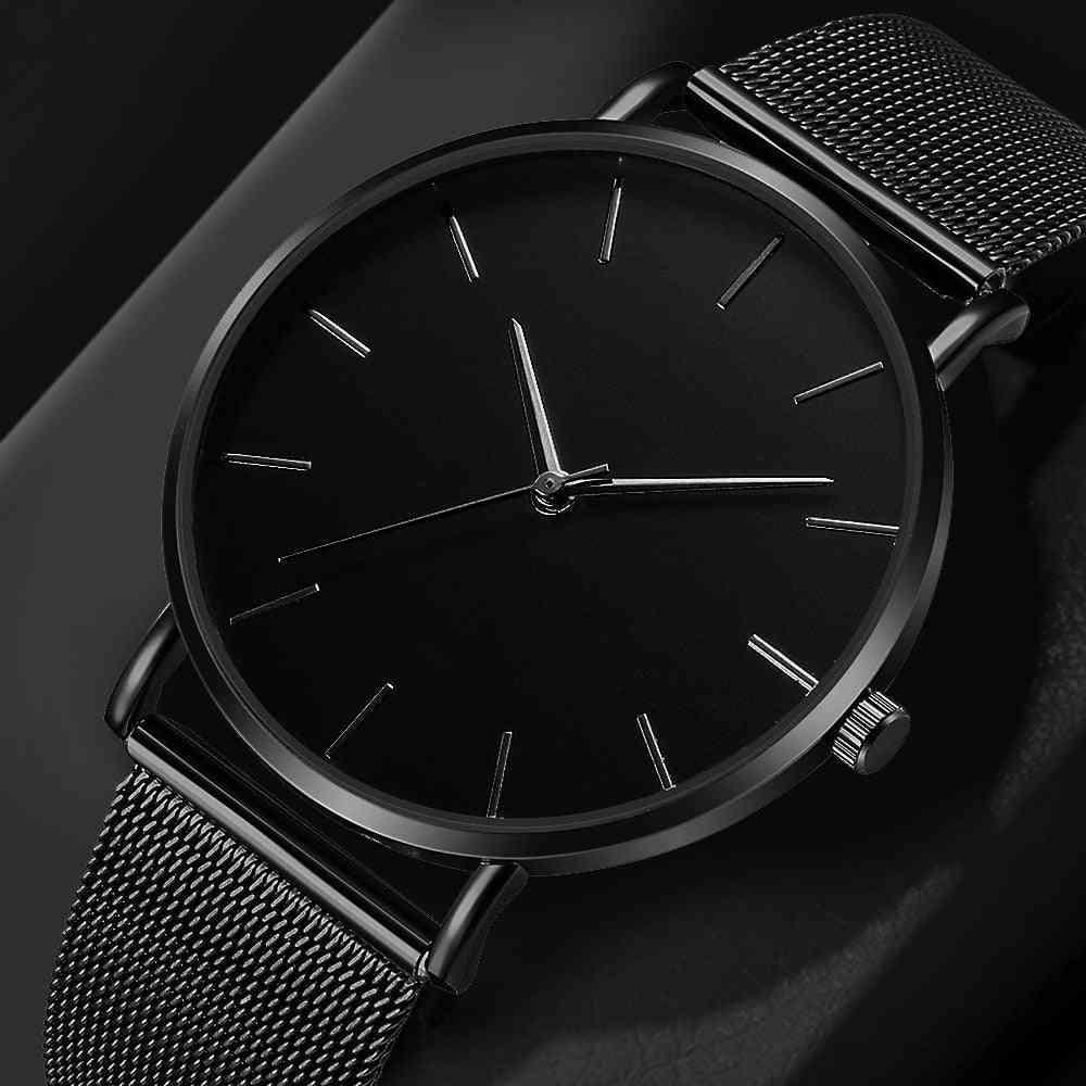 Women's Quartz Wristwatch Simple Montre Femme Mesh Black Stainless Steel Bracelet