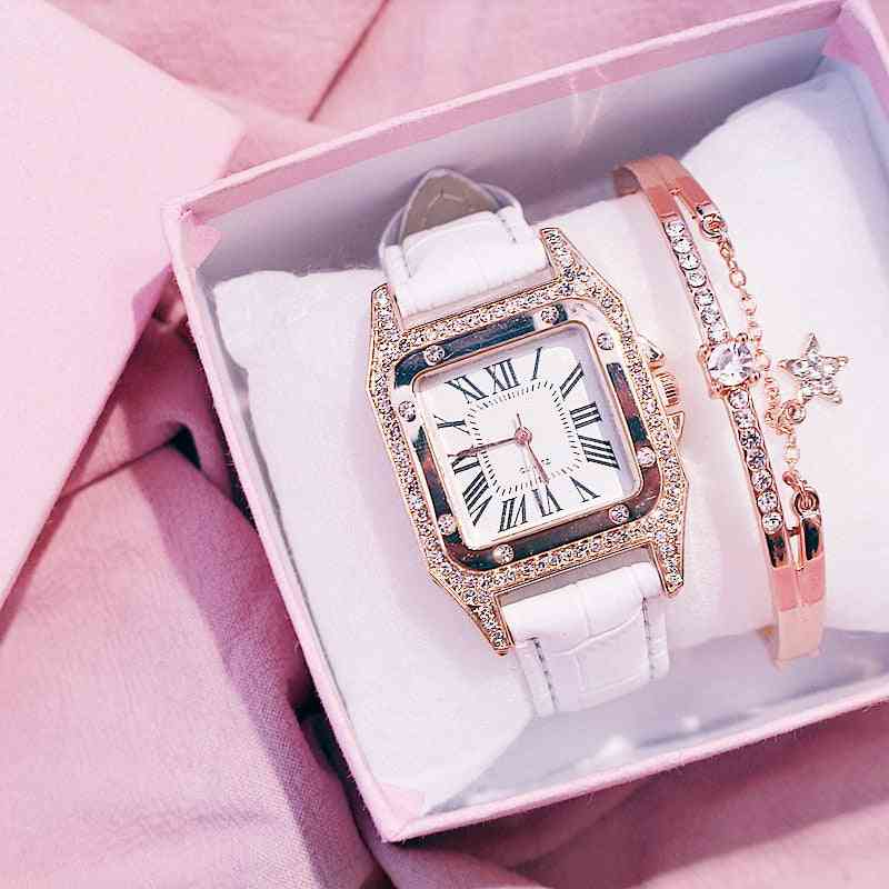 Women Diamond Watch Starry Square Dial Bracelet Watches Set