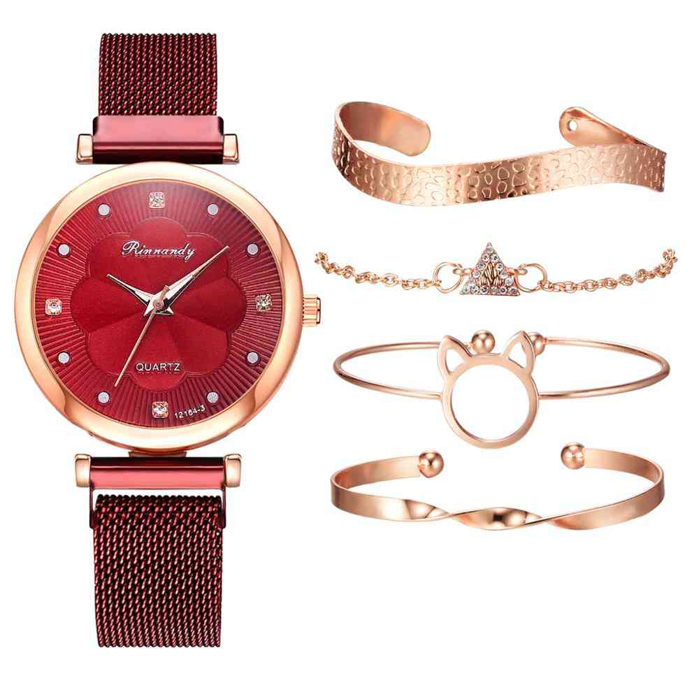 5pcs Set Women Watches Luxury Magnet Buckle Flower Rhinestone Watch, Ladies Quartz Wrist Watch Bracelet Set