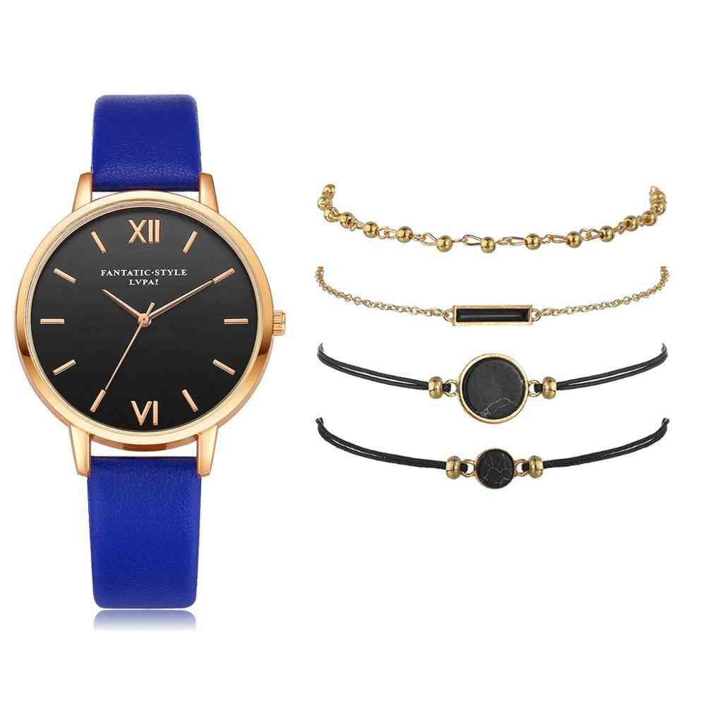5pcs Set Women's Luxury Leather Band Analog Quartz Wristwatch Ladies Watch