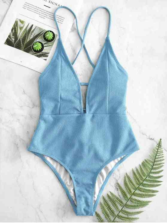 Women Swimwear High Cut Out Swimsuit, Backless Thong Bathing Suit
