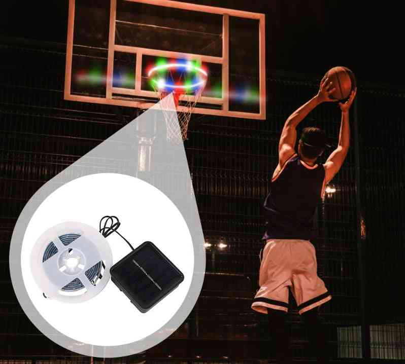 Led Basket Hoop Solar Basketball Rim Playing At Night Shooting Accessories