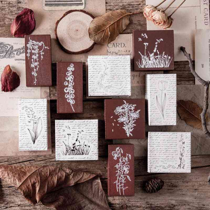 Vintage Flowers, Grass, Plants Journal - Wooden Stamps