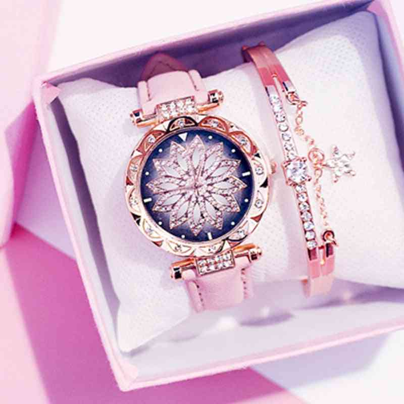 Women Starry Sky Watch, Diamond Leather Quartz Wristwatch
