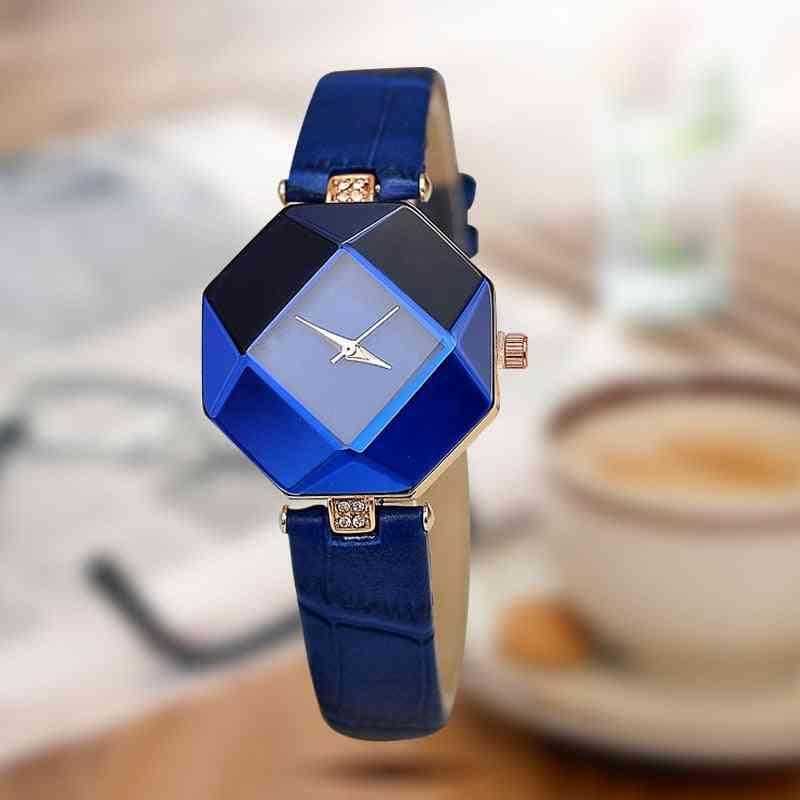 Gem Cut Geometry Crystal Leather Quartz Wristwatch Fashion Dress Watch