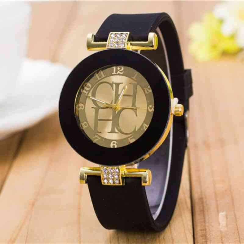 Simple Leather Geneva Quartz Watch, Women Crystal Silicone Watches