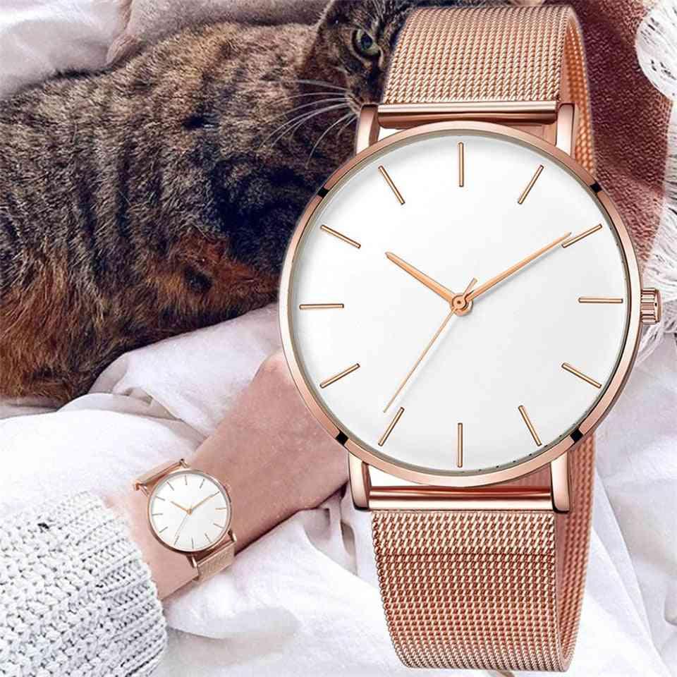 Luxury Mesh Stainless Steel Bracelet Quartz Watch, Women Watches