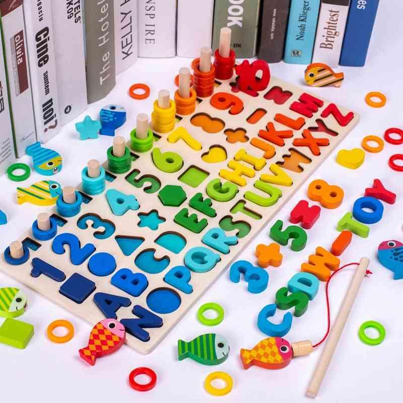 Wooden Montessori Count Geometric Shape Cognition