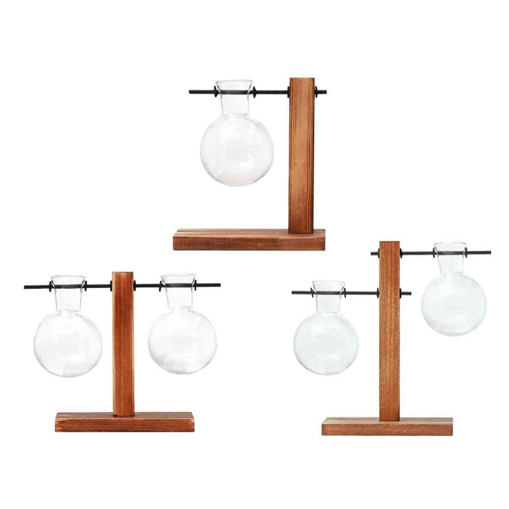 Glass Terrarium Planter Bulb Vase Wooden