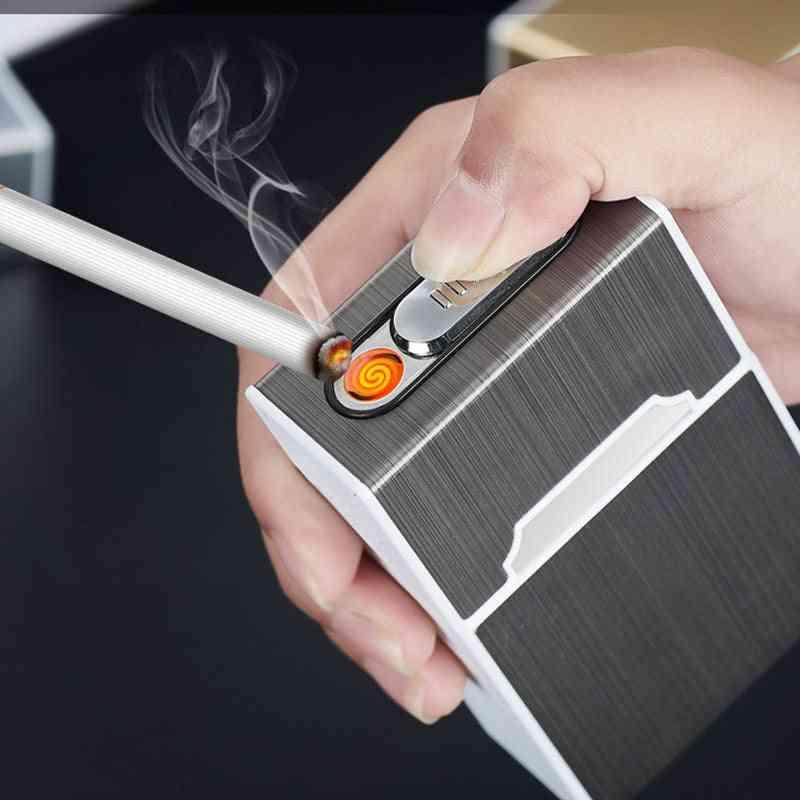 Portable Cigarette Case With Lighter Holder