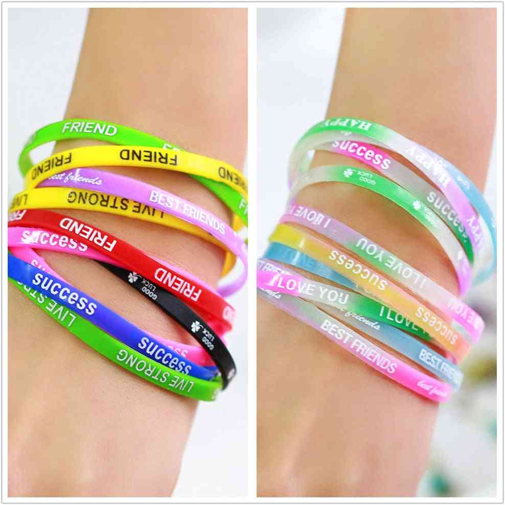 Silicone Bracelets & Bangles - Women Fluorescent Rubber Fitness Wristband