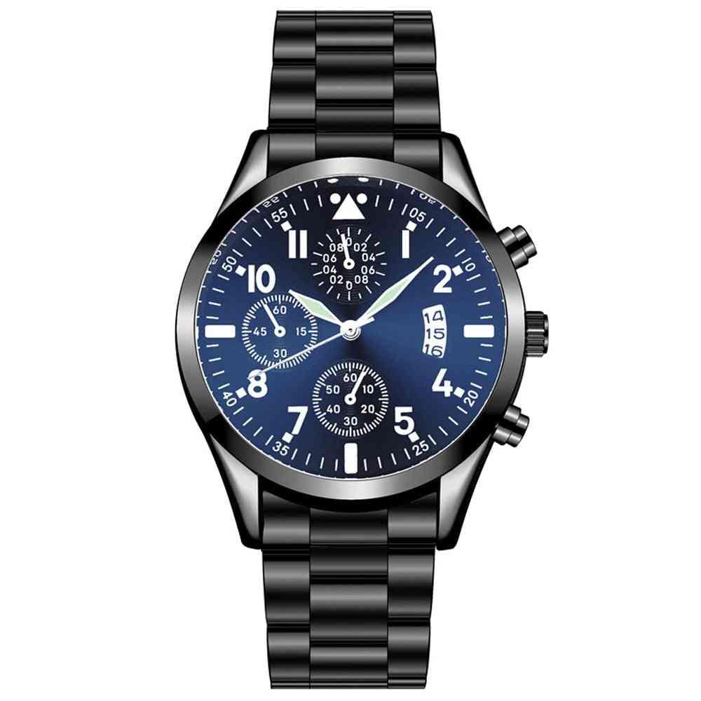 Quartz Wristwatch Classic Calendar Mens Business Steel Watch