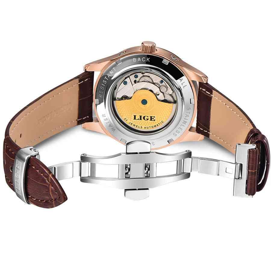 Automatic Mechanical Tourbillon Sport Clock Leather Casual Business Wristwatch