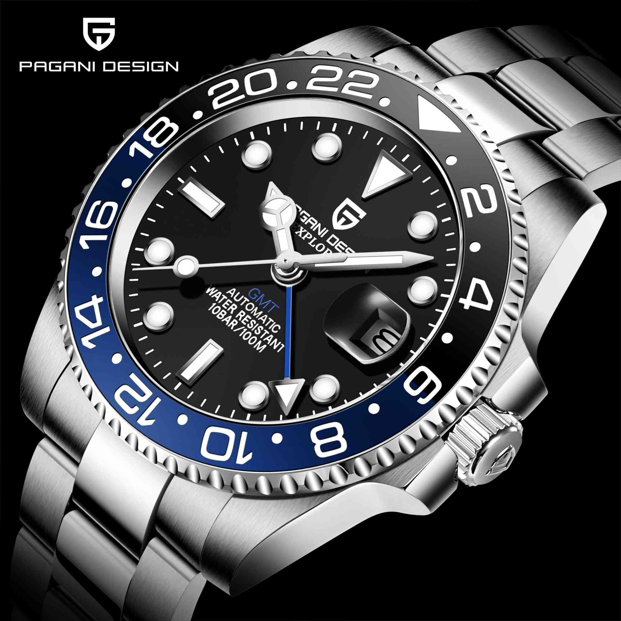 Men Mechanical Wristwatch Stainless Steel Gmt Watch