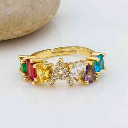 Adjustable A-z Initial Ring Bohemian Copper Zircon  Rainbow Letter Rings