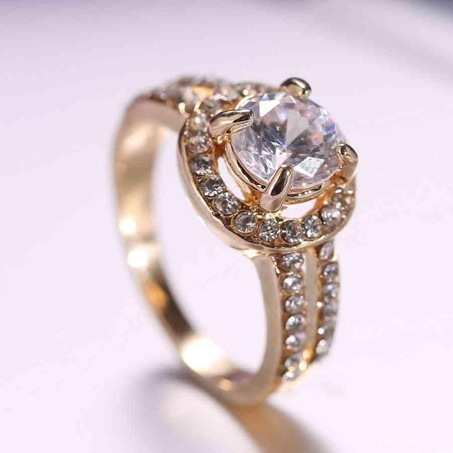 Women Gold Crystal Engagement Ring For Bride Wedding Girl